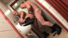Two kinky gay lovers exploring their sexual fantasy in a public toilet