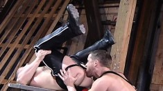 Muscled Hunk Welcomes A Huge Dildo And A Stiff Cock Up His Needy Ass