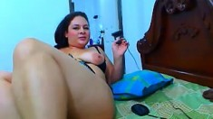 Super hawt large boobs brunette hair masturbating solo