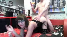 Amateur Brunette Doggystyle Fucks A Big Cock
