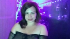 Sexy chubby brunette babe huge tits stripteases on cam