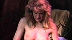 Busty Blonde In Black Lingerie Masturbation