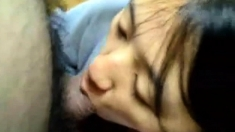 Asian girl sucking many guys cocks giving blowjob cum to mou