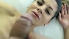 Horny Brunette Babe Slurps that Hard Cock