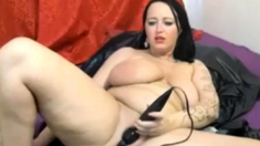 Webcam - Horny, chubby big tit brunette rides dildo