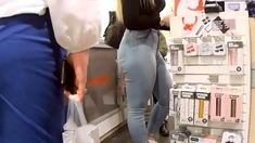 Juicy Blonde Walking with Big Booty and Tight Jeans